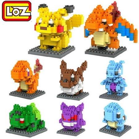 Building Block Toys (LOZ 8box Diamond Block Pikachu Squirtle Bulbasaur Eevee Charmander Charizard Gengar Mewtwo 1080pcs Parent-child Games Building Blocks Educational)