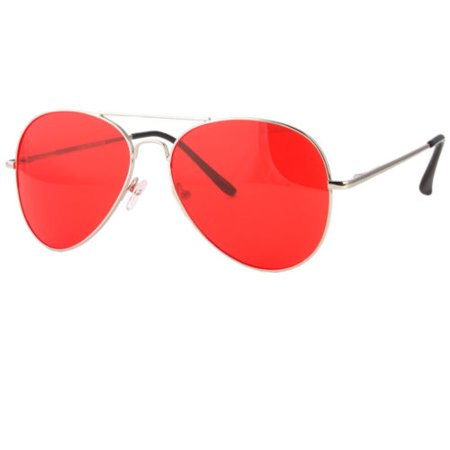 CLASSIC AVIATOR SUNGLASSES RED YELLOW TINTED LENS SILVER ALL METAL FRAME