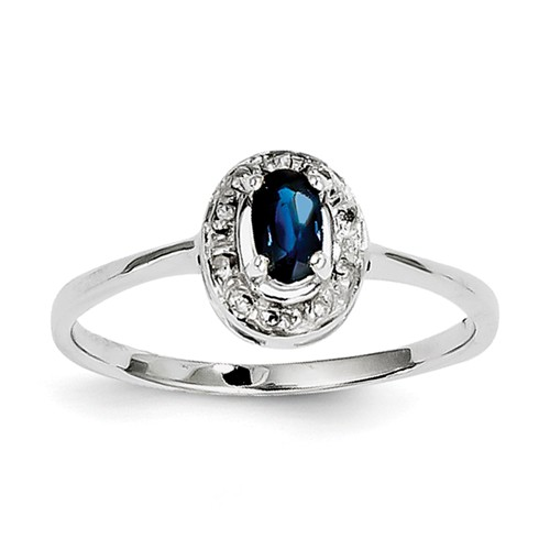 Sterling Silver Rhodium Sapphire & Diamond Ring CT Wt- 0.35ct by Jewelrypot
