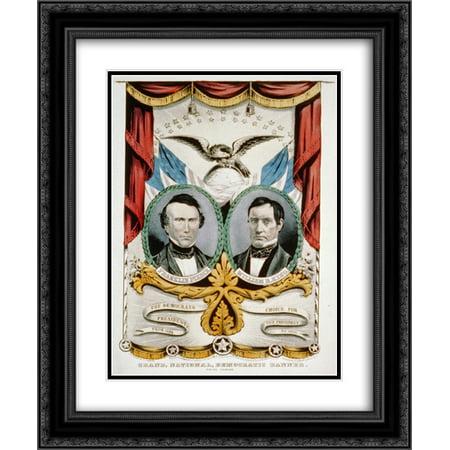Grand, national, democratic banner - press onward 18x24 Double Matted Black Ornate Framed Art (Matt Banner)