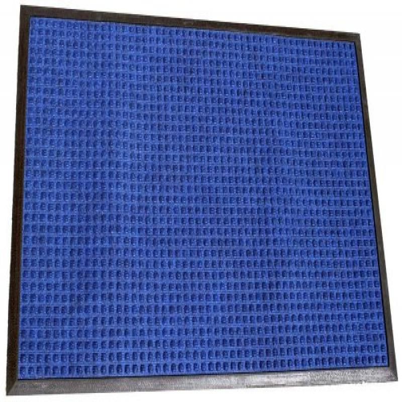 "Durable Corporation Polyester Stop-N-Dry Polyester Carpet Mat, for Indoors & Vestibules, 24"" Width x 36"" Length x 1/2"" Thickness, Blue"