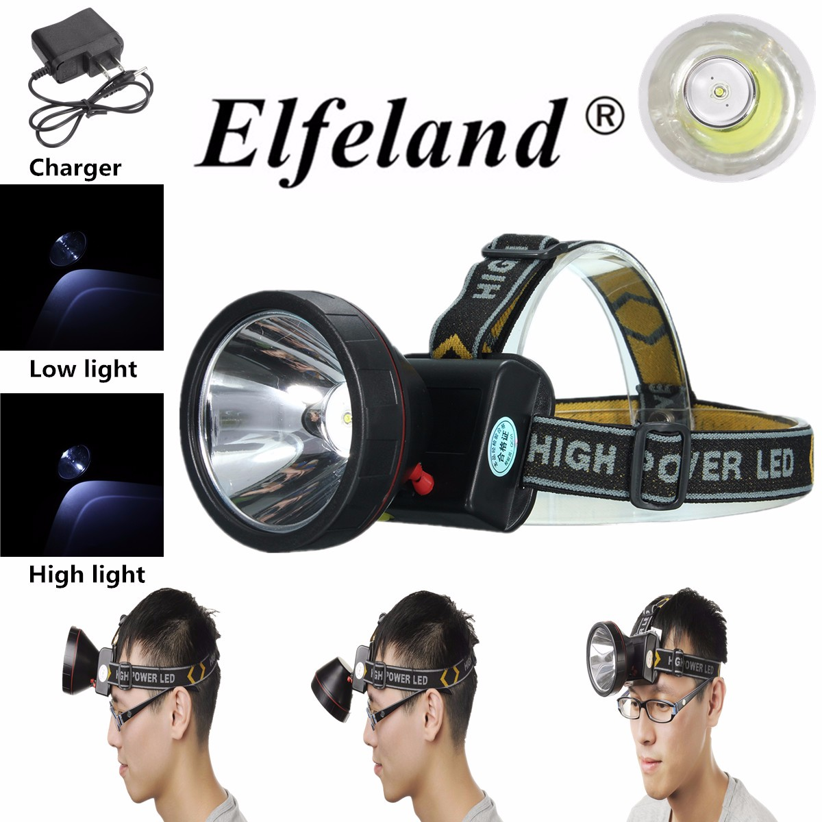 3000Lm LED Rechargeable Headlight Headlamp Head Torch Flashlight Waterproof + Charger For Camping Hiking
