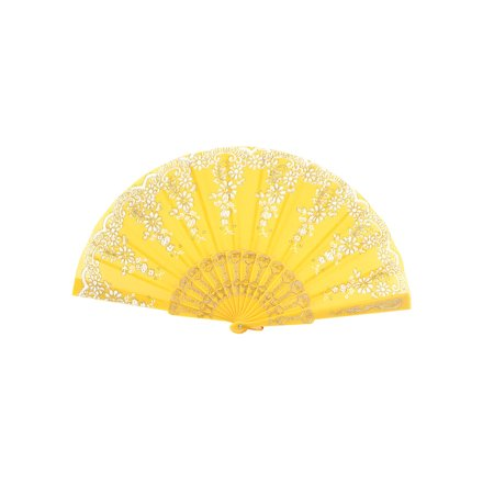 Unique Bargains Lady Summer Flower Carved Plastic Rib Fabric Sheer Foldable Hand Fan Gift Yellow](Plastic Hand Fan)