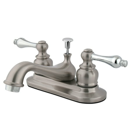 Kingston Brass KB607AL 4-Inch Centerset Lavatory Faucet, Brushed Nickel/Polished Chrome ()