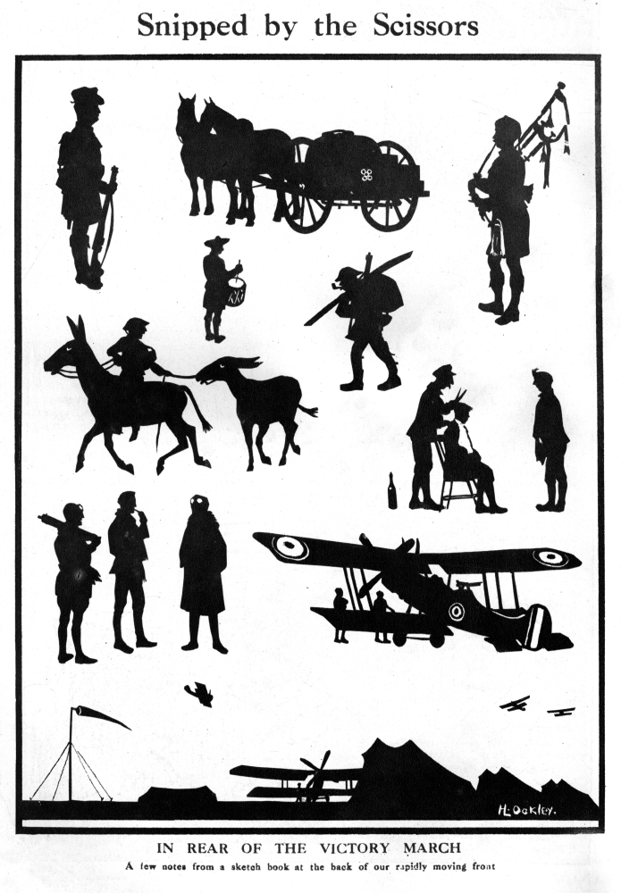 ?_ Illustrated London News Ltd Mary Evans Stretched Canvas Art Snipped By The Scissors, Ww1 Silhouettes By H.... by Mary Evans Picture Library