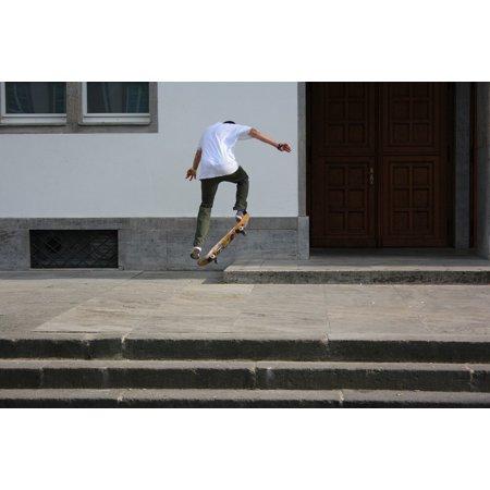 Canvas Print Skateboarding Boy Skateboard Skating Drive Jump Stretched Canvas 10 x