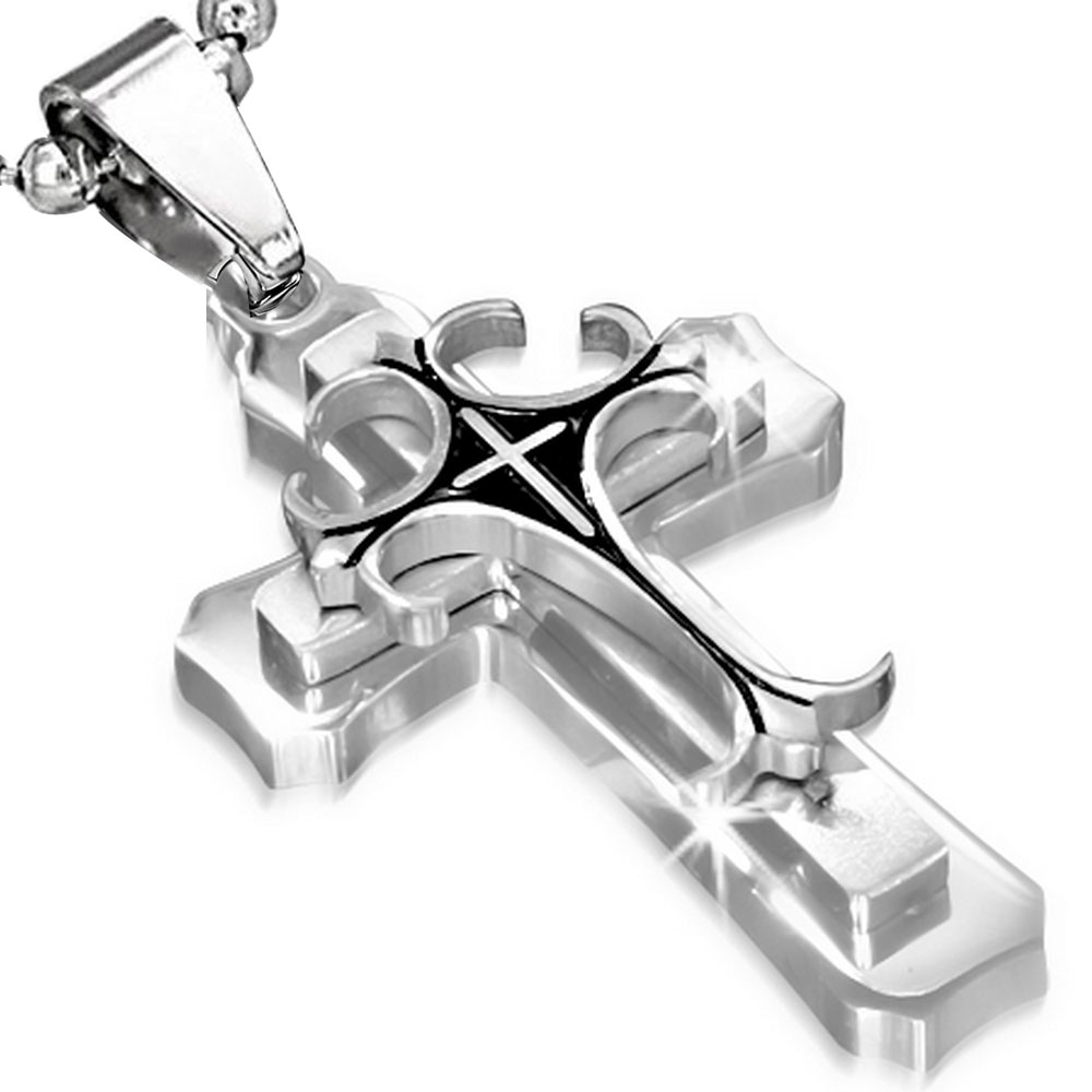 Stainless Steel Black Silver-Tone Latin Cross Crucifix Pendant Necklace, 24""