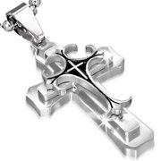 Stainless Steel Black Silver-Tone Cross Crucifix Pendant Necklace, 22""