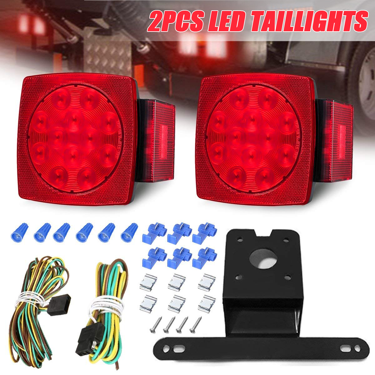 Submersible Tail Lights for: RV Boat Wellmax 12V LED Trailer Lights Kit Marine for All Outdoor terrains Over 80 inches Trailer DOT Compliant
