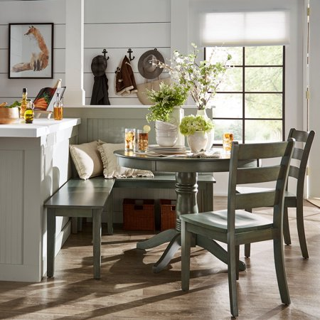 Weston Home Lexington 5-Piece Breakfast Nook Dining Set, Round Table, Antique Sage