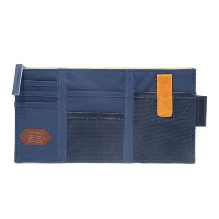 Multi-purpose Car Sun Visor Organizer Pouch Bag Pocket Card Storage Holder Blue