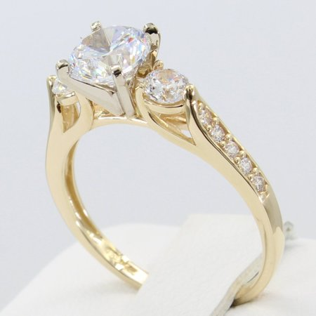 2.00 Ct 14K Real Yellow Gold Round Cut 3 Three Stones with Pave Set Side Stones 4 Prong Cathedral Setting Wedding Engagement Bridal Propose Promise Ring