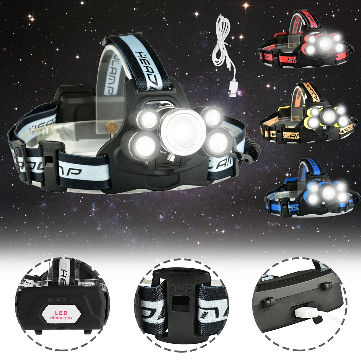 6500 Lumens T6 5 LED USB Rechargeable Headlight Headlamp Head Torch 5 Modes with SOS Help Whistle For Camping Fishing Hining