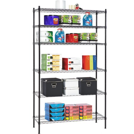 Wire Storage Units - 6 Shelf Wire Shelving Unit Heavy Duty Metal Storage Shelves NSF Wire Shelf Organizer Black Height Adjustable Utility Rolling Steel Commercial Grade Layer Shelf Rack For Kitchen Bathroom Office
