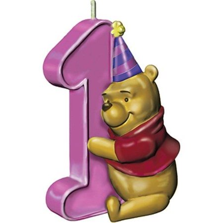 Winnie The Pooh Girls 1st Birthday Cake Candle 1ct