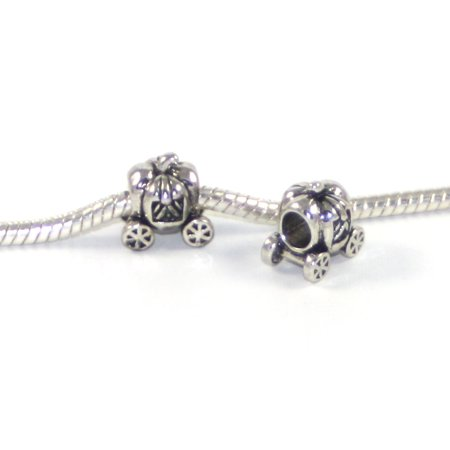 - 3 Beads - Cinderella Pumpkin Princess Carriage Silver European Bead Charm E0774