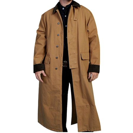 Scully Western Jacket Mens Old West Canvas Duster Button Front RW107 (Mens Duster Coat)