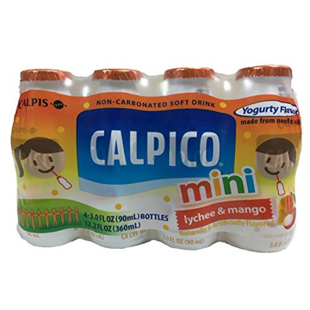 Mini Sparkling Cider Bottles (Calpico Mini Non-Carbonated Soft Drink Yogurt Flavor 4 Individual Bottles Per Pack (Lychee&Mango, 1)
