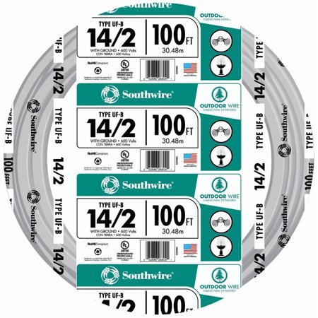 Burial Wire - Southwire 13054226 14/2WG UF Wire 100-Foot Approved for Direct Burial Wiring