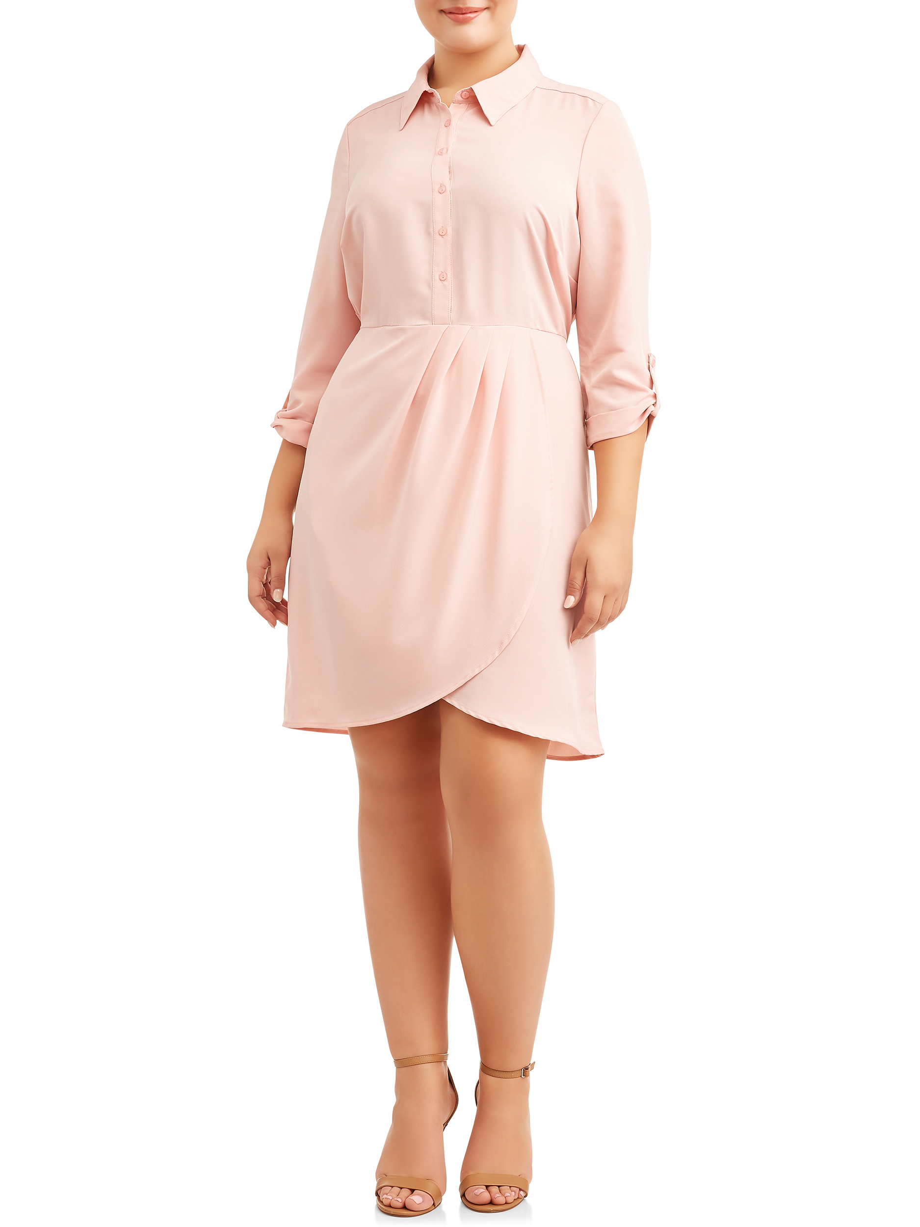 Women's Plus Size Button Down Shirtdress with Roll Tab