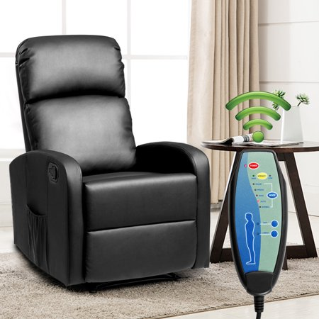 Sport Reclining Front Seat - Costway Massage Recliner Chair PU Leather Padded Seat Ergonomic Lounge Foldable Footrest