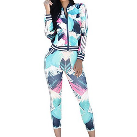 Print 2 Pieces Set Women Sport Long Sleeve Casual Suit Zipper Coat &