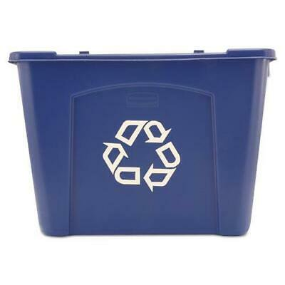 Stacking Recycle Bin, Rectangular, Polyethylene, 14gal, Blue ()