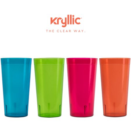 Plastic Tumblers Drinkware Cup Glasses - Break Resistant 20 oz. Kitchen Restaurant HIGH QUALITY set of 16 in 4 Assorted Colors - Best Gift Idea By Kryllic