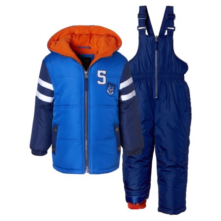 iXtreme Varsity Puffer Jacket Coat & Snowpants Ski Bib, 2pc Snowsuit Set (Baby Boys & Toddler Boys) - All Time Low Varsity Jacket