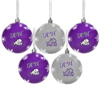 TCU Horned Frogs 5-Pack Set of Shatterproof Ball Ornaments