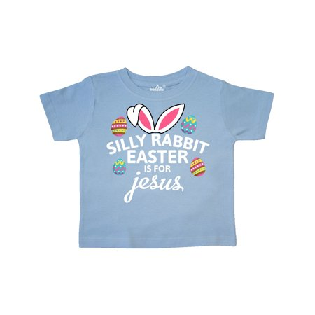 Silly Rabbit Easter is for Jesus with Bunny Head and Easter Eggs Toddler T-Shirt for $<!---->