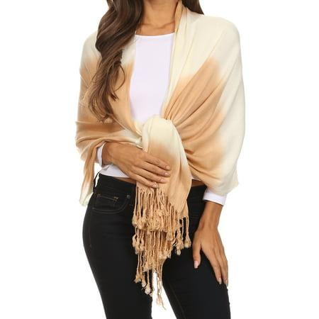 Sakkas Vicki Trendy Ombre Stripe Tie Dye Pashmina/ Shawl/ Wrap/ Stole - Beige -