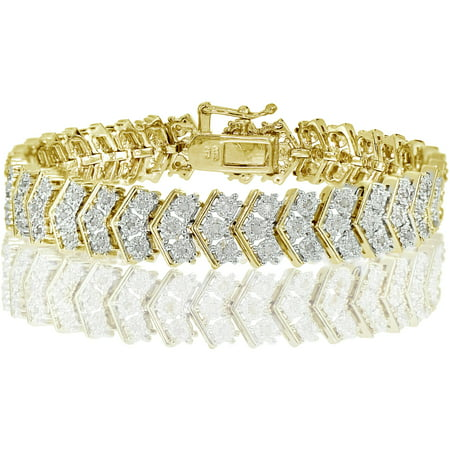 1.00 Carat T.W. Diamond Gold-Tone Miracle-Set Chevron Tennis (Diamond Tennis Estate Bracelet)