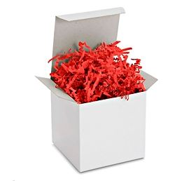 Teschco 1 LB Crinkle Cut Paper - High Quality Shred Filler Perfect for Gift Wrapping & Basket Filling. (Brilliant Red)