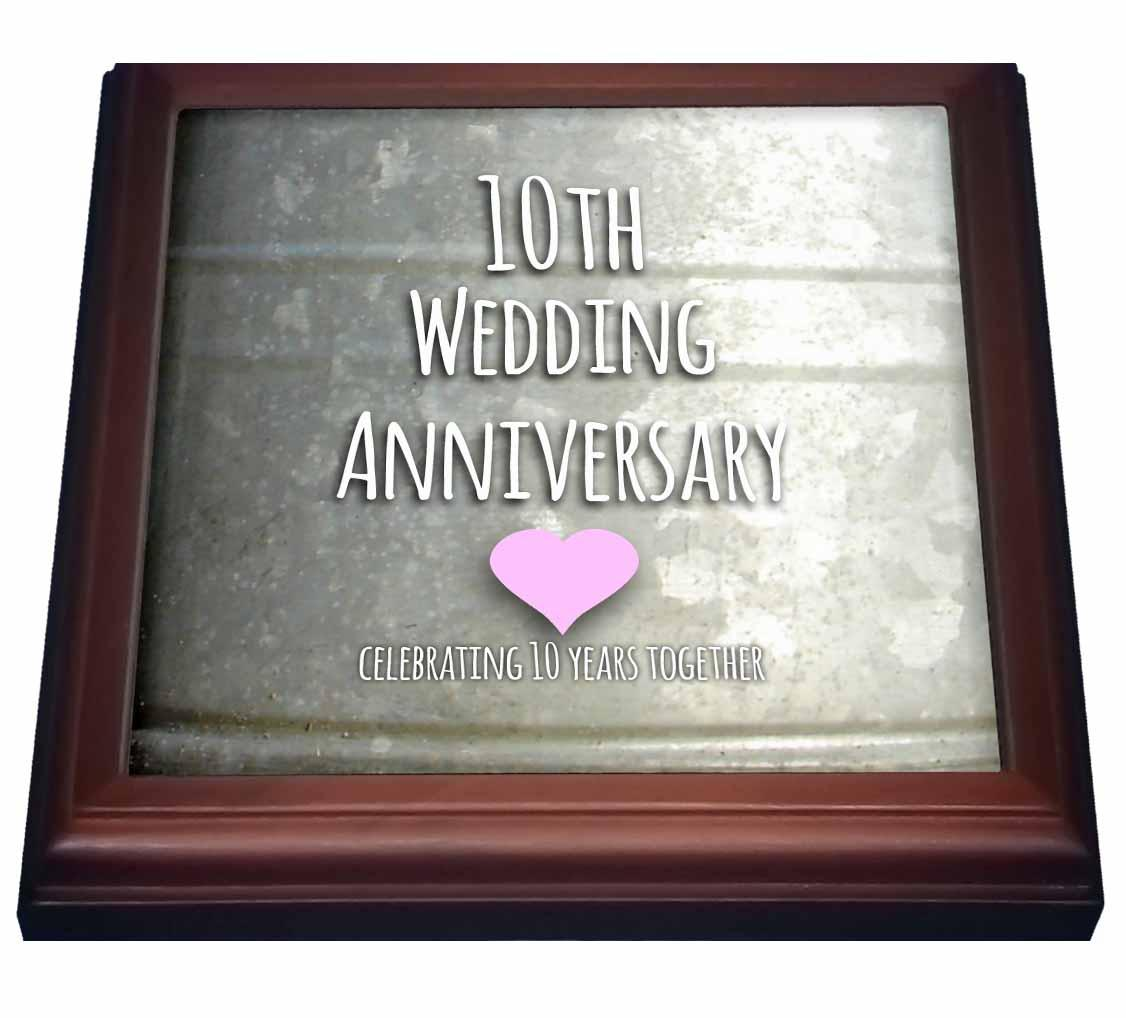 3dRose 10th Wedding Anniversary gift - Tin celebrating 10 years together - tenth anniversaries ten yrs, Trivet with Ceramic Tile, 8 by 8-inch