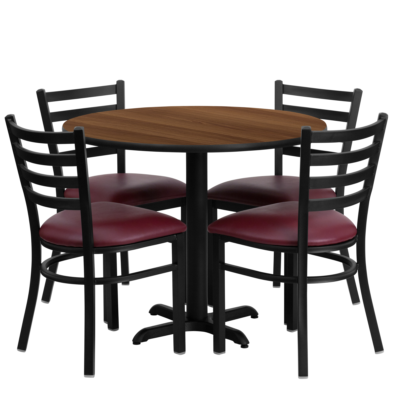 Flash Furniture 36'' Round Walnut Laminate Table Set with 4 Ladder Back Metal Chairs, Burgundy Vinyl Seat Black, Burgundy, Walnut