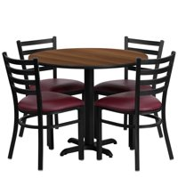 Flash Furniture 36'' Round Walnut Laminate Table Set with X-Base and 4 Ladder Back Metal Chairs - Burgundy Vinyl Seat
