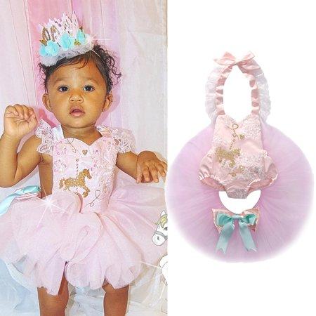 9d56b9f4c925 Unicorn Toddler Kids Baby Girl Lace Tutu Dress Romper Jumpsuit Clothes  Outfit - Walmart.com