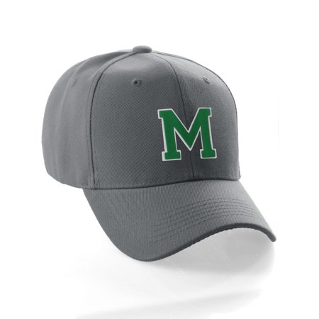 Custom Greek Letters - Classic Baseball Hat Custom A to Z Initial Team Letter, Charcoal Cap White Green