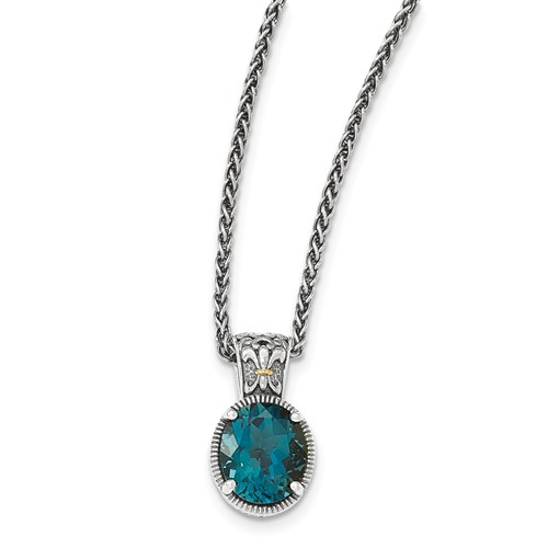 Sterling Silver w 14k Gold 18in London Blue Topaz Necklace by Jewelrypot