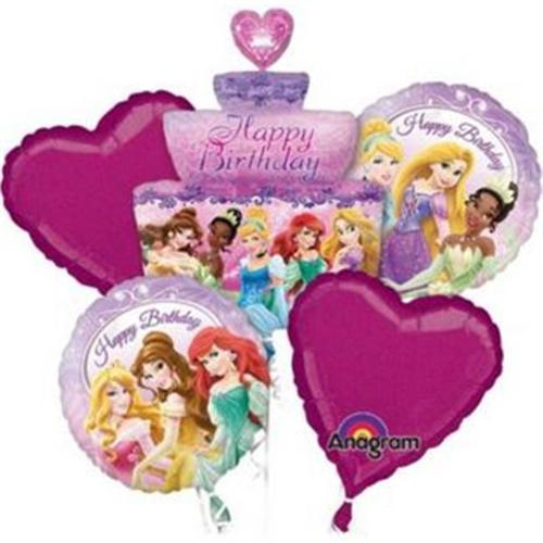 Princess Birthday Cake Balloon Bouquet (5 Pack) - Party Supplies