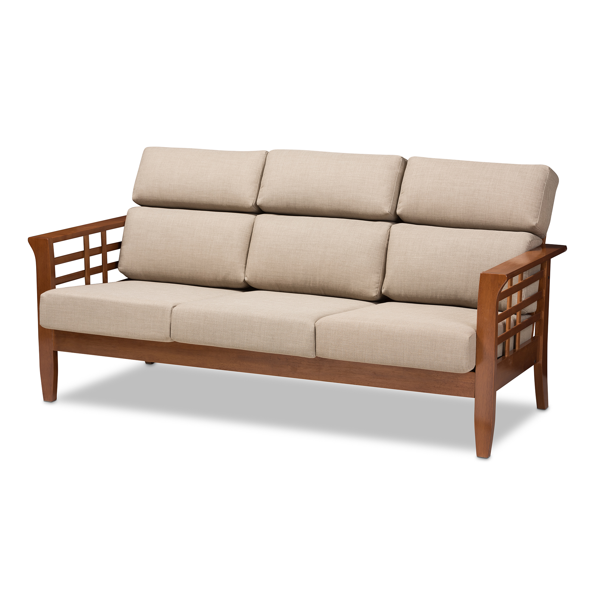 Baxton Studio Larissa Modern Classic Mission Style Cherry Finished Brown Wood and Fabric High Back Cushioned Living Room 3-Seater Sofa, Multiple Colors