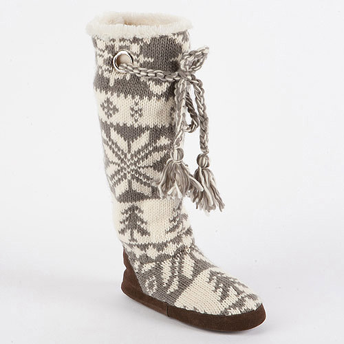 MUK LUKS Women's Grace Knit Slipper Boots with Braided Tassel