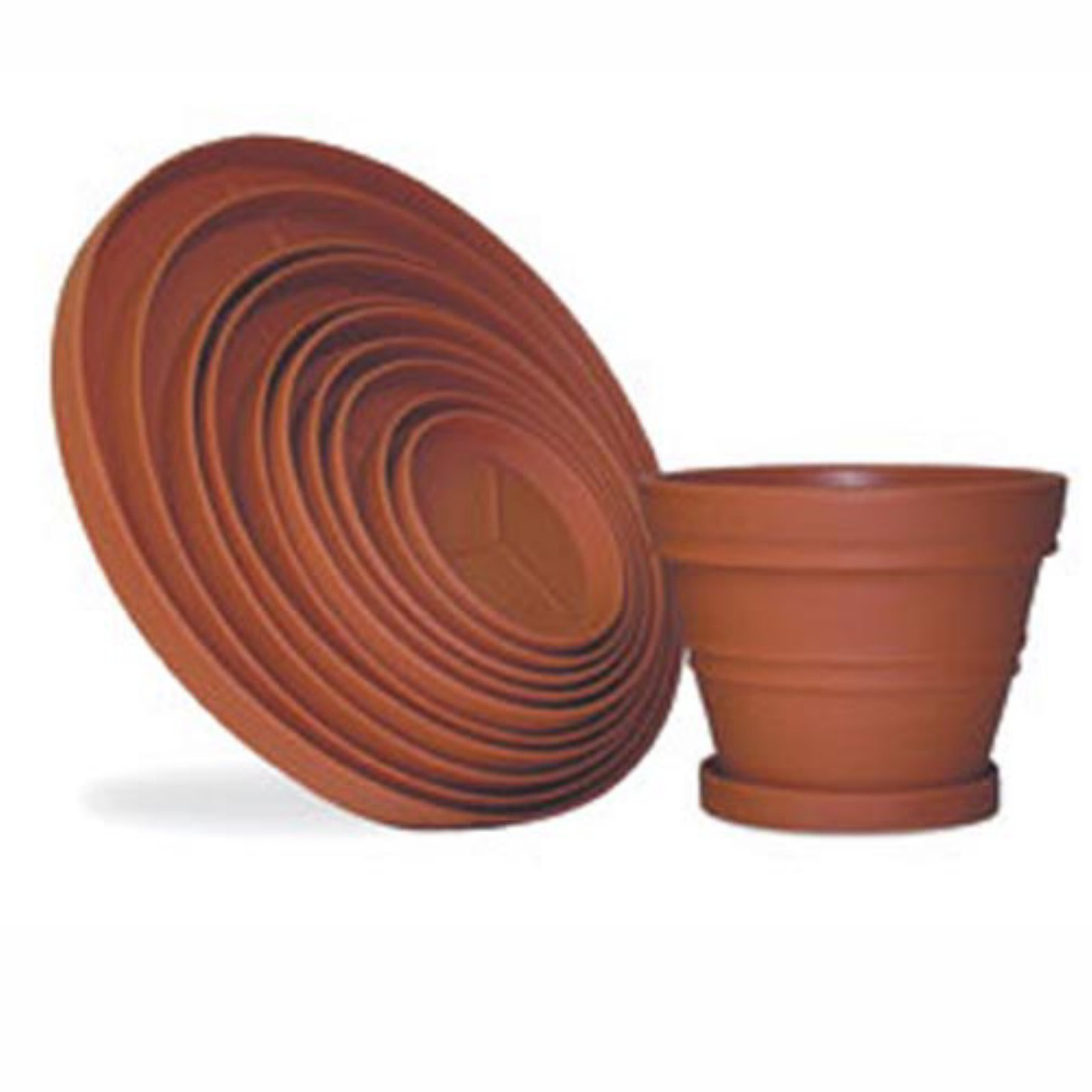 Round Resin Planter Saucers by Riverside Plastics Inc