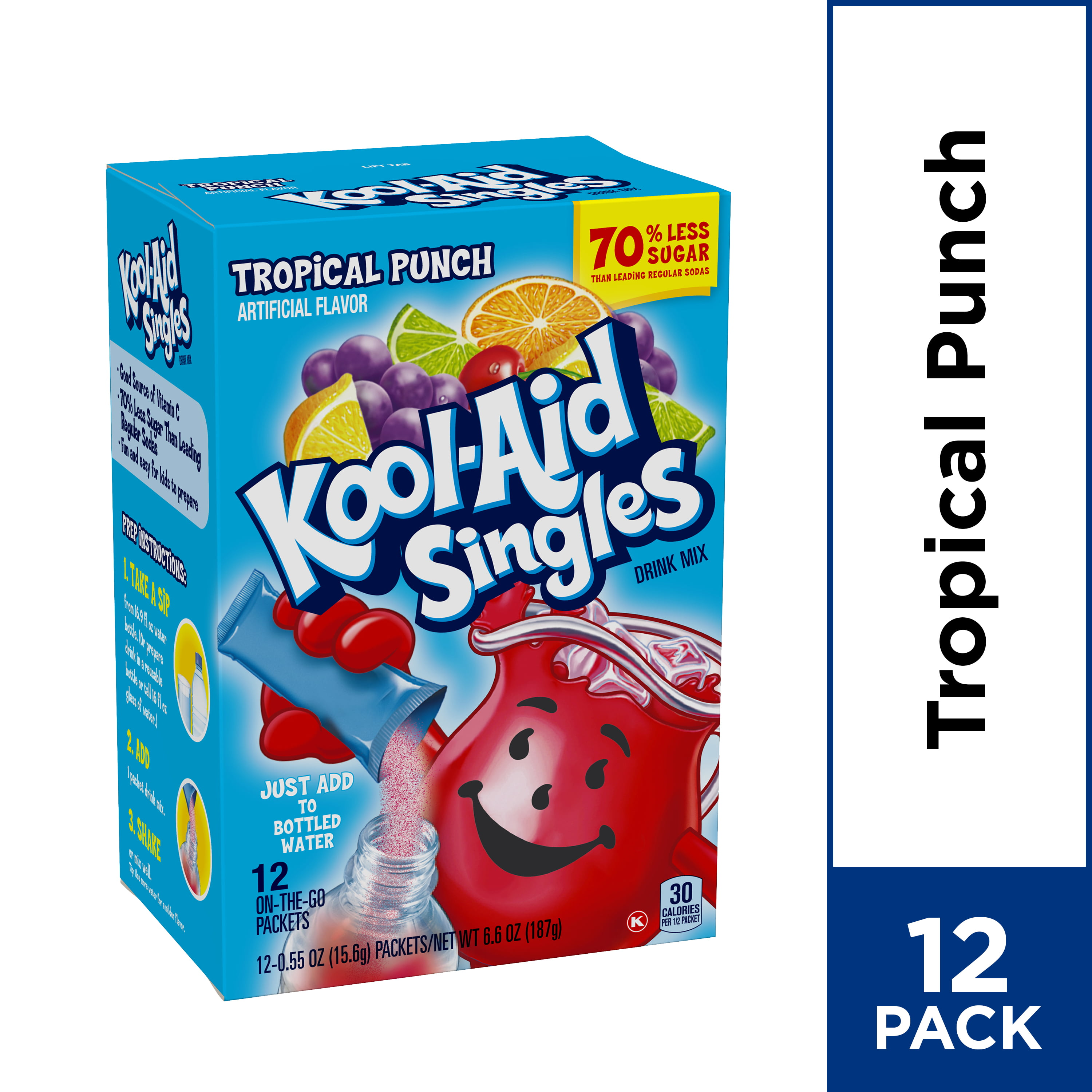 Kool Aid Singles Tropical Punch Powdered Drink Mix, 12 Ct
