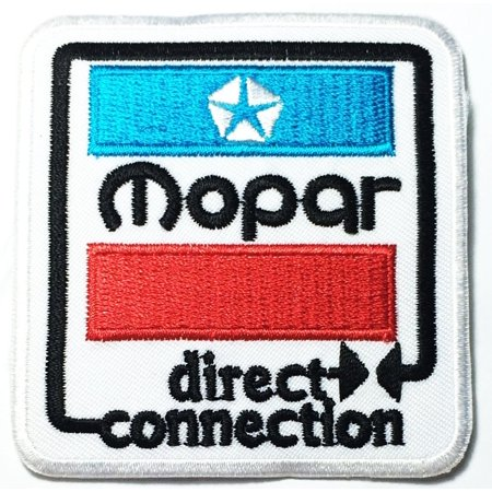 MOPAR direct connection Sign Chrysler Hot Rod Nos Dodge Car Racing logo 7cm x 7.5cm Logo Sew Ironed On Badge Embroidery Applique (Nos Mopar Race)