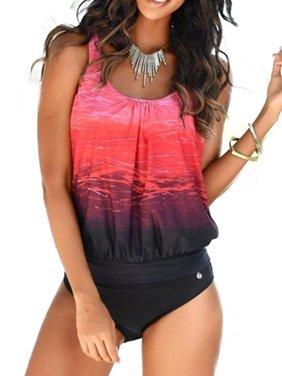Women Tie Dye Tankini Bikini Set Padded Swimsuit Swimwear Bathing Suit Plus Size