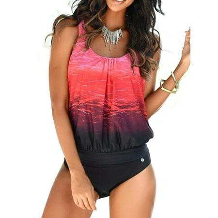 Women Tie Dye Tankini Bikini Set Padded Swimsuit Swimwear Bathing Suit Plus Size