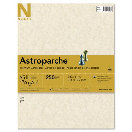 (R) Specialty Cover Stock, 8 1/2in. x 11in, 65 Lb, 30% Recycled, Natural, Pack of 250 Sheets, Sold as 250/PK. By Astroparche,USA