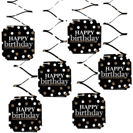 Adult Happy Birthday - Gold - Birthday Party Hanging Decorations - 6 Count
